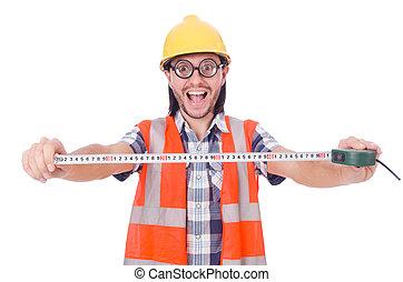 面白い, 労働者, 隔離された, 建設, 白, tape-line
