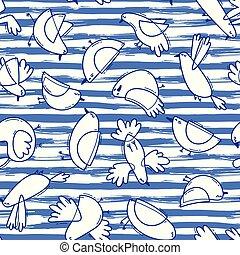 面白い, 単純である, パターン, 抽象的, カモメ, seamless, イラスト, 鳥, バックグラウンド。, ベクトル, しまのある, 線, 海洋, style., design.