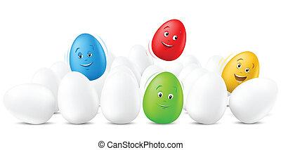 面白い, 卵, 跳躍, 顔, イースター, 幸せ