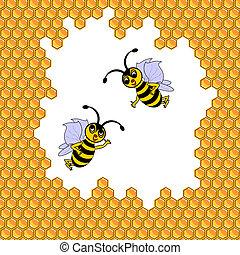 面白い, 囲まれた, 2, 蜂, ハニカム, 漫画