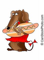 面白い, 国民, 犬, 挨拶, 暑い, ダックスフント, カード, 招待, アメリカ人, 食品。, 服, 日, 赤