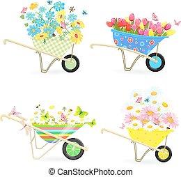 面白い, 園芸, 一輪手押し車, 流れ, コレクション, 花束