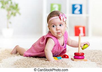 面白い, 子が遊ぶ, ∥で∥, 色, おもちゃ, 屋内