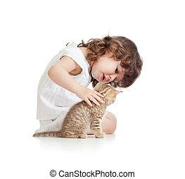 面白い, 子ネコ, ネコ, 子供, 女の子, 遊び