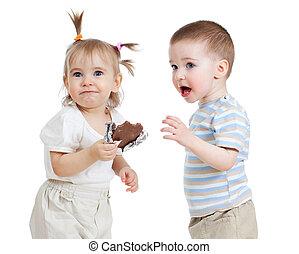 面白い, 子供の食べること, チョコレート, 隔離された, 白