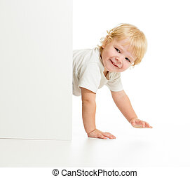 面白い, 子供, すべての fours, の後ろ, 壁