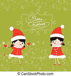面白い, 子供, クリスマス, 陽気