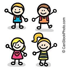 面白い, 子供, グループ, 幸せ