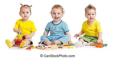面白い, 子供, グループ, 遊び, カラフルである, おもちゃ, 隔離された, 白