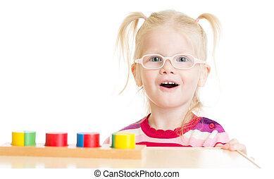 面白い, 子供, 中に, eyeglases, 遊び, 論理名, ゲーム, 隔離された
