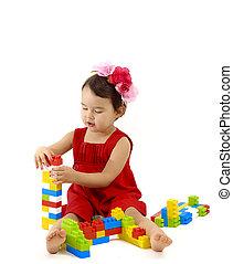 面白い, 子供, 女の子, 遊び, ∥で∥, コンストラクションセット, 上に, 白い背景