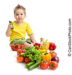 面白い, 子供, 男の子, 食べること, vegetables., 健康に良い食物, concept.
