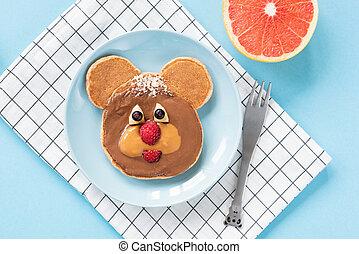 面白い, 子供, 芸術, テディ, 食物, 熊, パンケーキ