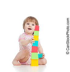 面白い, 小さい子供, 遊び, ∥で∥, カップ, おもちゃ, 隔離された, 上に, 白