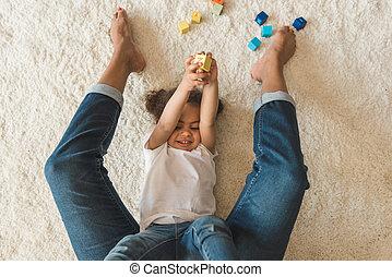 面白い, 小さい母, 家, 女の子, 子供, 遊び, カーペット