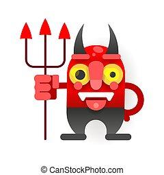 面白い, 小悪魔, スタイル, 漫画, ベクトル, あなたの, design.