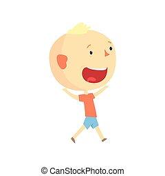 面白い, 屋外, カラフルである, 子供, 特徴, 男の子, ベクトル, イラスト, 活動, 微笑, 漫画