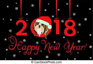 面白い, 幸せ, 年, 挨拶, ペーパー,  2018, 掛かること, 新しい, 子犬, 旗, クリスマス, 数