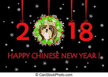 面白い, 幸せ, 年, 花輪, 挨拶, ペーパー, 数, 掛かること, 新しい子犬, 旗, クリスマス, 2018