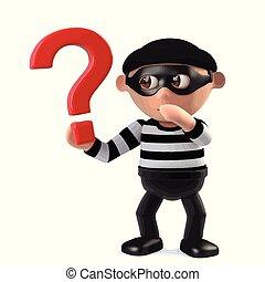 面白い, 強盗, 質問, シンボル, 特徴, 印, 保有物, 犯罪者, 漫画, 3d