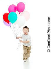 面白い, 彼の, カラフルである, 男の子, 手。, 隔離された, とても, ballons, white., 子供, 束