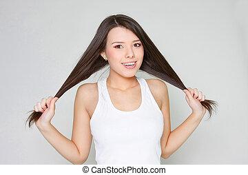 面白い, 打撃, 長い髪, スタジオ, 魅力的, 女の子