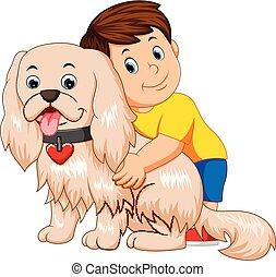 面白い, 抱き合う, 犬, 男の子