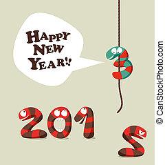 面白い, 挨拶, ヘビ, 年, 新しい, 2013, カード, 幸せ