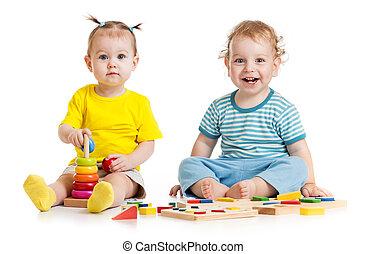 面白い, 教育, 子供, 隔離された, おもちゃ, 遊び