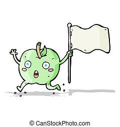 面白い, 旗, 漫画, アップル