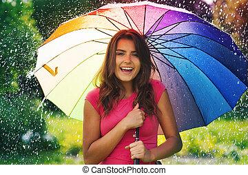 面白い, 時間, 中に, 夏, 雨