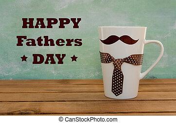 面白い, 木製である, 挨拶, 父, 大袈裟な表情をしなさい, 背景, mustaches., 白, 日, カード