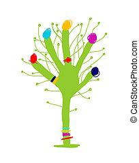 面白い, 木, 手, デザイン, 緑, あなたの