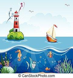 面白い, 灯台, sailboat., fish, 床, イラスト, 子供, 海