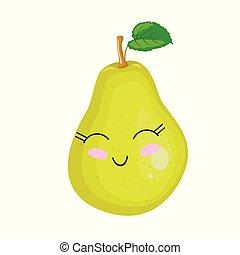 面白い, 熟した, かわいい, pear., 顔, ベクトル, 漫画