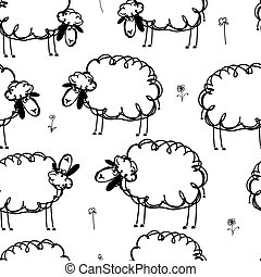 面白い, 牧草地, パターン, seamless, デザイン, sheeps, あなたの