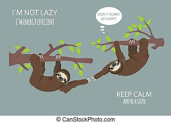 面白い, 物語, セット, sloth., 別, 1(人・つ), 姿勢, sloths, outdoors., 漫画