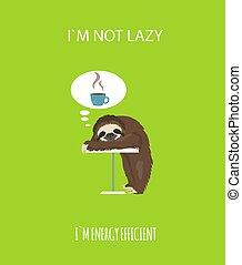面白い, 物語, セット, sloth., cofee., 朝, 姿勢, sloths, 1(人・つ), 漫画, 別