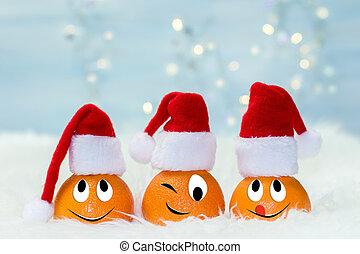面白い, 特徴, concept., claus, 考え, クリスマス, santa, タンジェリン, 背景, hat., オリジナル