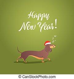 面白い, 犬, 歌う, song., 新年おめでとう, collection., 幸せ, ホリデー, template., 漫画, animals., クリスマス, 2018, card.