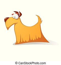 面白い, 狂気, -, 犬, 黄色, characters., 漫画