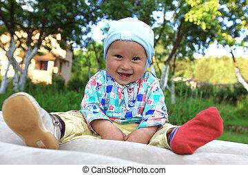 面白い, 男の子, ブーツ, 1(人・つ), 屋外で, 赤ん坊