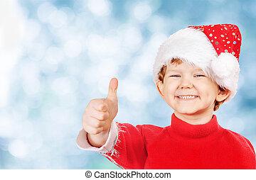 面白い, 男の子, 中に, a, クリスマス帽子, 上に, 青い雪, bokeh, バックグラウンド。