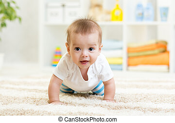 面白い, 男の子, 屋内, 這う, 赤ん坊, 家