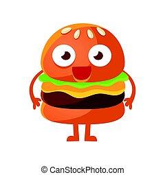 面白い, 目, かわいい, 食物, 大きい, 特徴, 速い, バーガー, ベクトル, イラスト, standing., 漫画, emoji