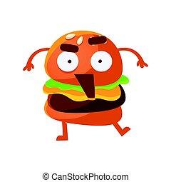 面白い, 目, 開いた, かわいい, 食物, 大きい, 特徴, 怒った, 速い, バーガー, ベクトル, イラスト, mouth., 漫画, emoji