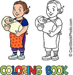 面白い, 着色, 乳母, book., baby.