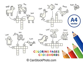 面白い, 着色, 動物, 本, クロスワードパズル