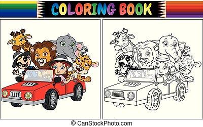 面白い, 着色, 子供, 自動車, 本, 動物, 漫画, 赤