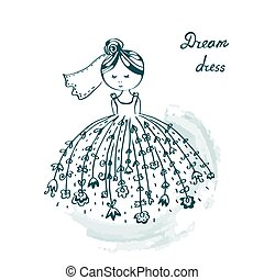 面白い, 結婚式 服, カード, 花嫁
